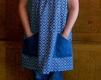 Steel Blue No Tie Smock - Calico and Polka Dot Kitchen Smock - Blue - One Size