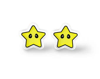 Invincibility Star Earrings - Video Game Jewelry, Geek Gift, Kawaii Jewelry, Geek Jewelry, Gamer Girl, Gamer Gift