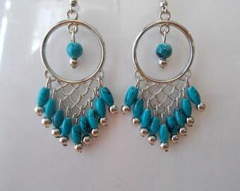 SilverTone Chandelier Earrings with Blue Bead Dangles