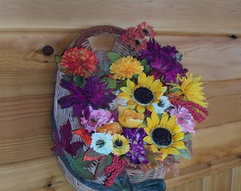 Festive Fall Floral Wicker Basket Wall Hanging