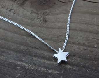 Sterling Silver Small star Necklace. Silver delicate Necklace, tiny Necklace. Teen gift. Girls Necklace, Simple everyday Necklace