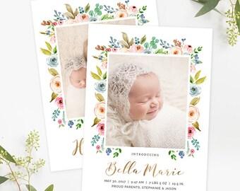 Birth Announcement Template Newborn Announcement Girl Baby Annoucement Newborn Templates for Photoshop Photographers Custom Printable Card