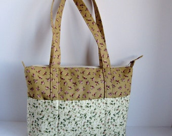Zippered handbag, tote with zipper, purse, flowered purse, zippered tote