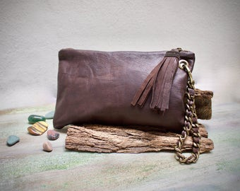leather clutch bag, brown leather clutch, wristlets clutch, purse with wristlet chain