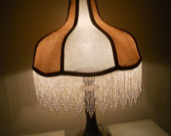 Lamp Shade, Fleur de Le, Vintage Beaded, Handmade One of A Kind Victorian Lamp w/ Base - ANGEL WINGS