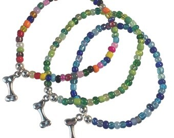 DOG BONE Charm BRACELET with Multi-Colour Seed Glass Beads and Silver Beads Gift Idea Doggy Charm Bracelet
