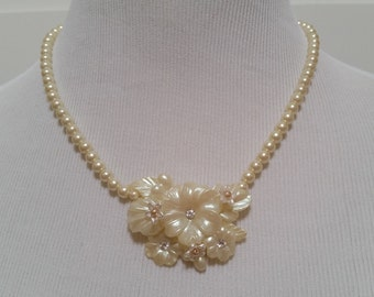 BRIDAL Vintage Necklace Assemblage Pearl Statement Romantic Champagne Cream Off White Crystal Rhinestones Wedding Victorian One of a Kind