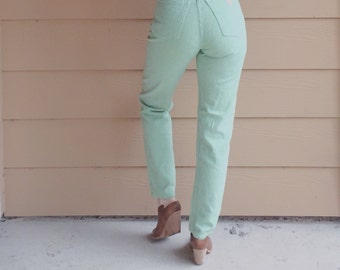 Vintage Guess Jeans High Waisted Floral Embroidered Mint Green Denim Skinny Leg Mom Jean // Women's XS 24 25