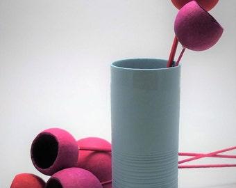 Cottage chic style porcelain vase, shabby chic vase, modern mint green flower vase, contemporary ceramics, elegant porcelain vase