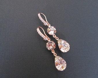 Vintage Rose Swarovski Earrings/Rose Gold Bridal Jewelry/Vintage Rose Bridesmaid Jewelry/ Pink Crystal Bridal Earrings/Wedding Earrings