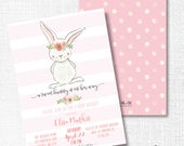Bunny Girl Baby Shower invitation, Printable, Pink Rabbit Invite, Sprinkle, Baby Brunch, Sip And See, Spring Shower, Easter