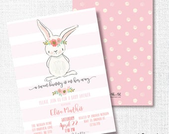 BUNNY BABY SHOWER invitation,  girl bunny, pink bunny baby, baby sprinkle, baby brunch, sip and see, spring baby shower, easter invitation