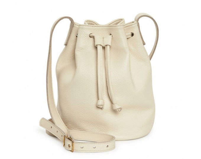 Cream leather bucket bag, leather handbag, crossbody bucket bag