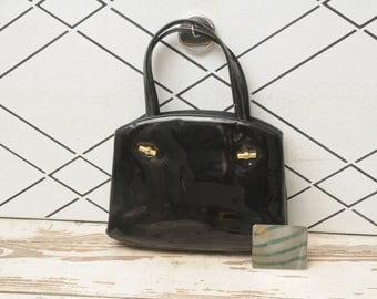 Lews Handbag Black Patent Leather Purse with Mirror