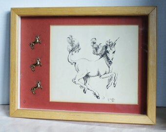 Framed Unicorn Print - Signed Ink Drawing - Unique Art - Gold Toned Unicorn Pins - Matted - Oak Frame- Nursery Decor - Art - 1982 - Wall Art