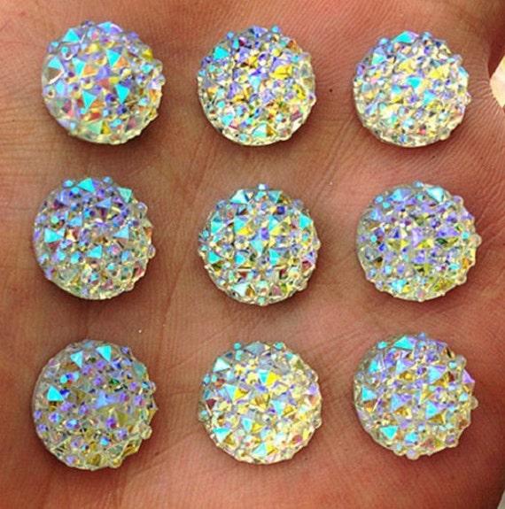 Crystal AB Flat Back Round Resin Rhinestones Embellishment Gems by MajorCrafts