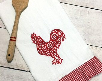 Rooster Decor, Ruffled Kitchen Towel, Rooster Kitchen Decor, Rooster Flour Sack Towel, Rooster Dish Towel, Rooster Kitchen Towel, Tea Towel