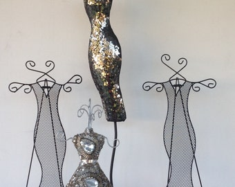 Black & Silver Dress Form Jewelry Hangers / Jewelry Display / Counter Top / Art Decor