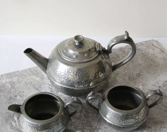 Vintage Pewter Teaset - Hammered Pewter Teapot, Milk Jug and Sugar Bowl - Sheffield Pewter