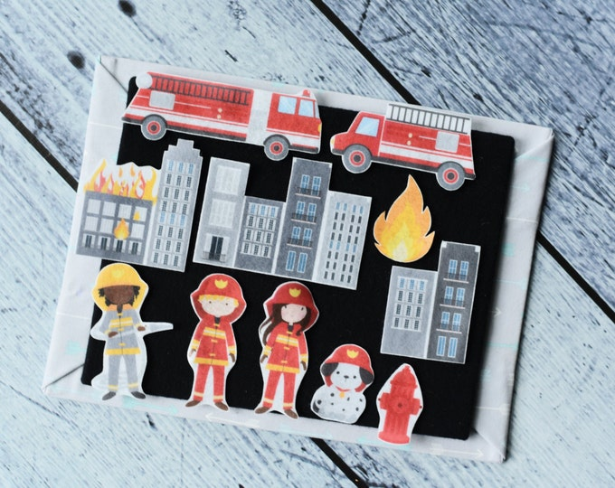Firefighter Felt Story Set - Learning Toy for Toddlers, Activity Board, Waldorf Toddler Toy, Quiet Book Travel Toy, Felt Board Fireman Toy