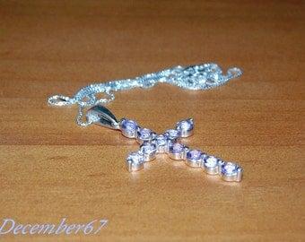 Cross Necklace, Amethyst Cross Pendant, Sterling Silver Cross Necklace