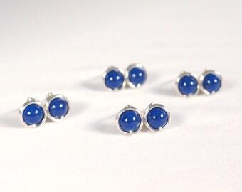 Bridesmaid Swarovski Pearl Earrings Set, Navy Blue Wedding Jewelry Gift