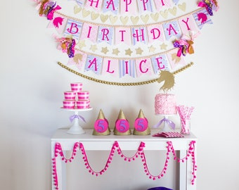 UNICORN PARTY BANNER by Sweet Georgia Sweet / Unicorn birthday banner / Unicorn birthday party / Pastel unicorn party / Happy birthday