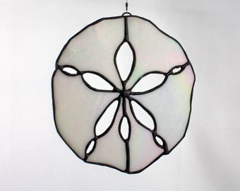 Stained Glass Sand Dollar Suncatcher, White Iridescent, Beach Decor, Glass Art, Mermaid Gift