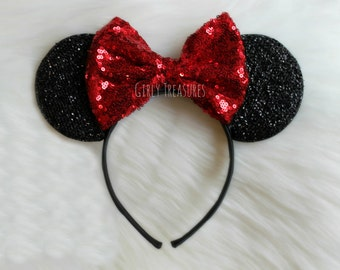Red Bow Mouse Ears Headband.  Minnie Mouse Headband. Womens Headband. Teen Headband. Mouse Ears Headband. One Size Fits Most.