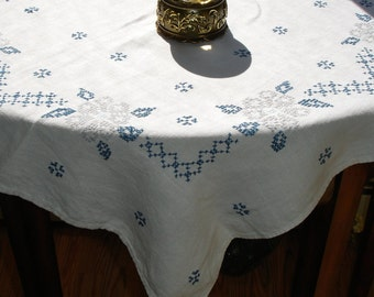 French Country Linen Cross Stitched hand embroidered tablecover 1950s,silver and blue, Kitchen linens, table linens
