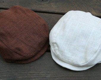 Newsboy Boy Hat in Natural, Brown Flat Cap, Black Hat, White Linen Hat, Navy Blue Newsboy Cap, Wedding Ring Bearer, Baptism Outfit