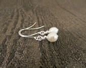 Pearl earrings dangle, pearl drop earrings, freshwater cultured pearl earrings, Valentines, girlfriend, wife, birthday, holiday gift (E96)