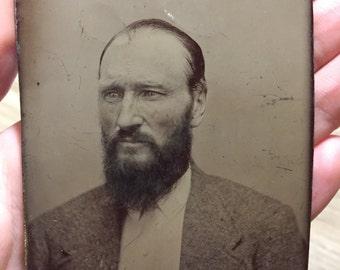 STUNNING Tintype of Bearded Man