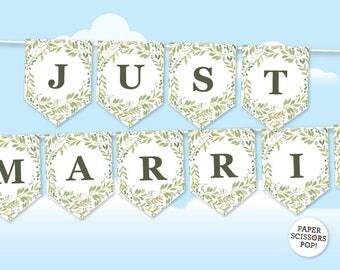 Editable Greenery Garland, Name Banner, Garden Green Wedding Decor Botanical Wedding Banner, Birthday Garland Botanical Decor, Leaves Wreath