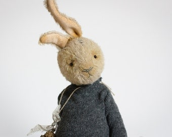 Made To Order Handmade Yellow Rabbit Knitted Gray Sweater Toy Bunny Stuffed Animal 8 Inches FREE Shipping