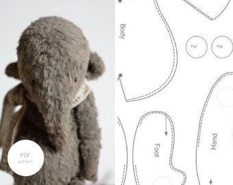 Sale 20% Off PDF Sewing Pattern Stuffed Animal Pattern Stuffed Elephant  Step By Step PDF Tutorial 6 inches Artist Teddy Bear  For Women