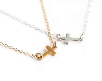 Tiny Cross Necklace, Kelly Ripa Tiny Sideways Cross Necklace, Silver Sideways Cross Necklace, Gold Cross Necklace, Silver Cross Necklace