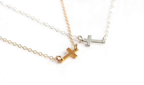 Tiny Cross Necklace, Kelly Ripa Tiny Sideways Cross Necklace, Silver Sideways Cross Necklace, Gold Cross Necklace, Silver Cross Necklace