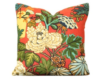 Schumacher Chiang Mai Dragon Pillow Cover in Red Lacquer- Lanterns and Flowers