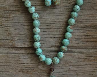 Genuine Turquoise Cross Necklace Set
