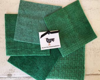 "Hand Dyed Felted Wool Fabric in Juniper Green  5"" x 5""  Wool Charm Pack of 5"