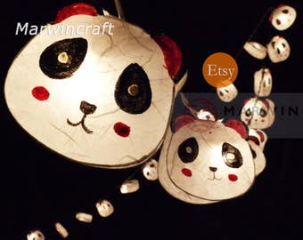 Battery or Plug 20 Panda Bear Cartoon Handmade Paper Fairy String Lights Party Patio Wedding Garland Gift Home Living Bedroom Holiday Decor