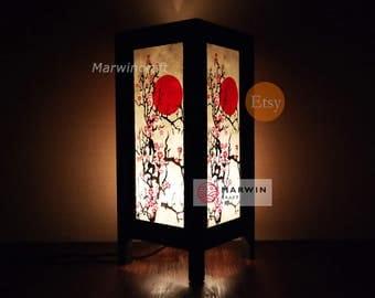New Asian Oriental CHERRY BLOSSOM TREE Zen Art Bedside Floor Table Lamp Desk Paper Light Shades Gift Living Bedroom Furniture Home Decor