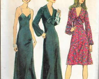 Vintage 1972 Simplicity 5300 Dress in Two Lengths & Bolero Jacket Sewing Pattern Size 12 Bust 34""