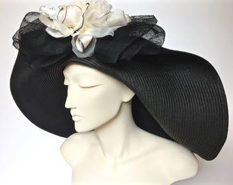 Kentucky Derby Black Straw Hat Large Brim Straw Hat for Derby Black Straw Church Hat