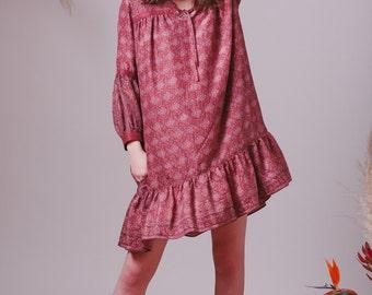 Bohemian Silk Indian dress,Boho dress,Bohemian clothes,Hippie dress,Silk dress,Tunic dress,Floral dress,Peasant dress,Gypsy dress