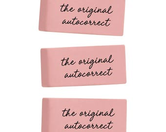 The Original Autocorrect set of 3 erasers. Classic pink erasers. Funny erasers. Office supplies. Back to school supplies. Desk accessories.