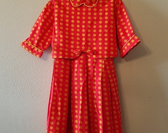 Vintage Girls Red and Yellow Retro Dress with 3/4 Sleeves by Youngland- Size 4/5