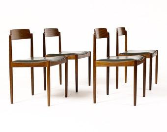 Danish Modern / Mid Century Mahogany Dining Chairs — IB Kofod Larsen for G-Plan — Dark Green Vinyl — Set of Four