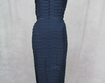 Exquisite 1950s Dress Vintage 1950s Large Size Wiggle Dress Chiffon Layers Hardly Worn Old Size 20